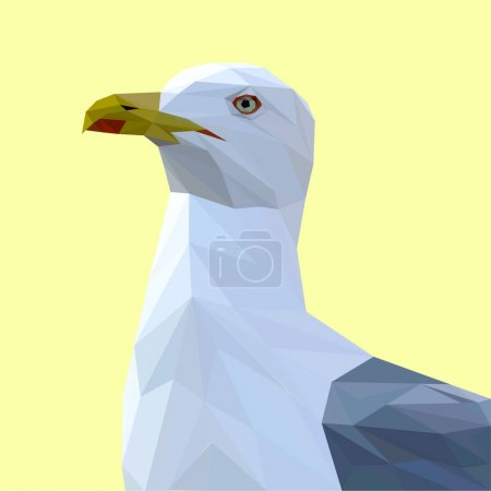 Illustration for Seagull bird low poly design. Triangle vector illustration. - Royalty Free Image