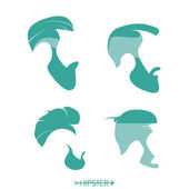 Set of hipster man haircuts beards mustaches Simple design for logo silhouette Vector illustration