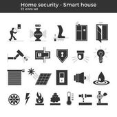 Smart home automation vector icons set House security items included Flat design for modern infographic or logo concept White background