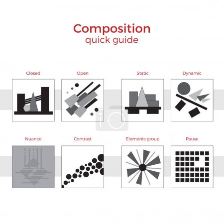 Illustration for Quick guide to composition vector illustration. Simple elements explanation of basic principles in art. Pairs of images showing key methods. - Royalty Free Image