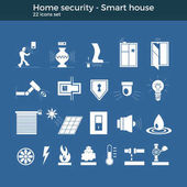 Smart home automation vector icons set House security items included Flat design for modern infographic or logo concept Dark background blueprint style