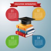Books and graduation cap icon Education and learning infographic theme Grey background Vector illustration