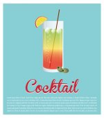 Cocktail glass ice olive star background vector illustration eps 10