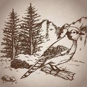 Hand drawing bird landscape vintage vector illustration eps 10