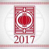 chinese new year 2017 red lantern greeting