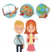 School kids ready activity education supplies vector illustration