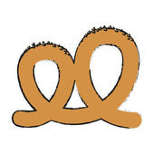 Pretzel icon over white background bakery products concept vector illustration