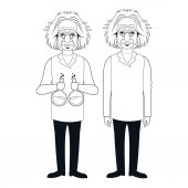 Two character scientist physical standing test tube vector illustration eps 10