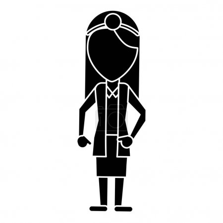 doctor female with head mirror and coat pictogram