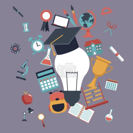 color background with light bulb with graduation cap and set school elements icons
