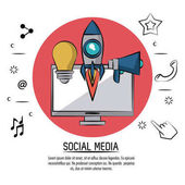 colorful poster of social media with desktop computer in red circle and icons light bulb and rocket and megaphone