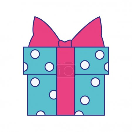 Illustration for Gift box with dots design over white background, vector illustration - Royalty Free Image
