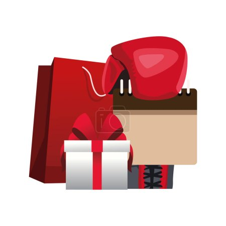 Illustration for Shopping bag and gift box over white background, vector illustration - Royalty Free Image