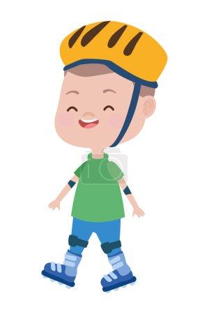 Illustration pour Mignon petit garçon avec skates personnage vectoriel illustration design - image libre de droit