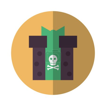 Illustration for Halloween gift with skull icon vector illustration design - Royalty Free Image