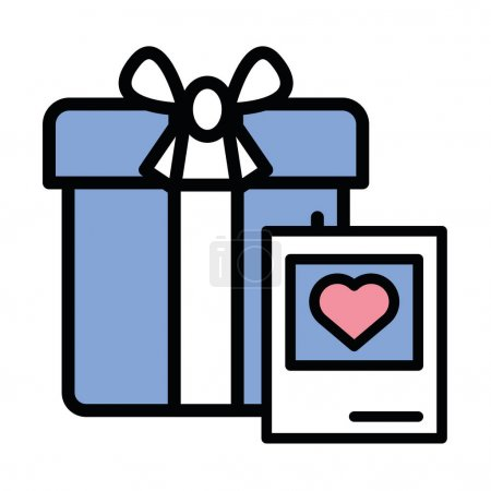 Illustration for Gift box present with heart love vector illustration design - Royalty Free Image