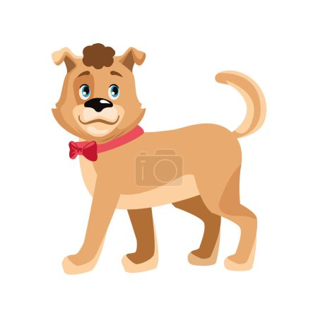 Illustration for Cute dog with red bow icon over white background, vector illustration - Royalty Free Image