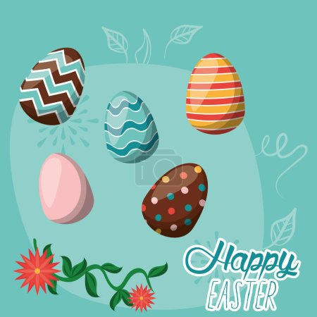 happy easter card with lettering and eggs painted