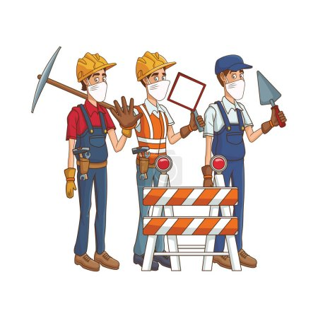 Photo for Builders using medical masks and tools vector illustration design - Royalty Free Image