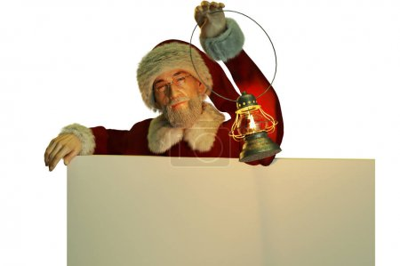 christmas figure of Santa Claus holding lantern with copy space on white background