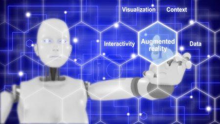 Photo pour Les composantes de la réalité augmentée illustrées par un robot féminin touchant une grille hexagonale Illustration 3D - image libre de droit