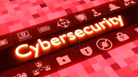 Abstract cybersecurity concept in red with icons