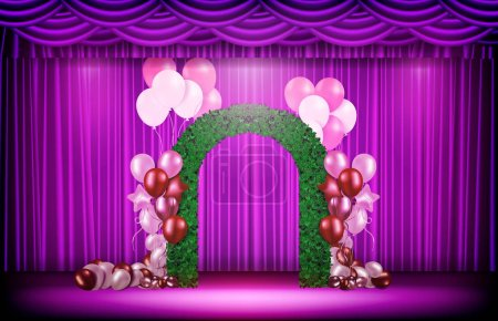 Illustration for Abstract background of purple curtain and wedding nature arch and balloons - Royalty Free Image