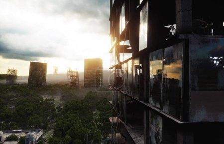Photo pour Apocalypse ville dans le brouillard. Vue aérienne de la ville détruite. Concept d'apocalypse. Rendu 3d - image libre de droit