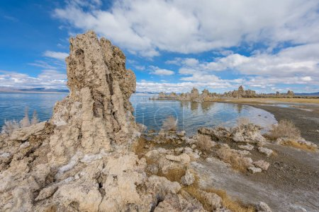 Mounds of the natural formation of tufa at Mono Lake in California, USA.
