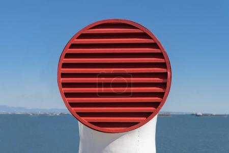 An old style ventilation intake duct for a passenger liner ship.