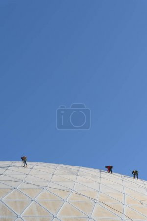 LONG BEACH, USA - FEBRUARY 20, 2018: Workmen doing maintenance work at The Dome at the Queen Mary in Long Beach, Los Angeles.
