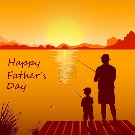 Illustration for Silhouettes of dad and son fishing on the sunset together. Happy Fathers Day card. Vector illustration in eps10 format. - Royalty Free Image