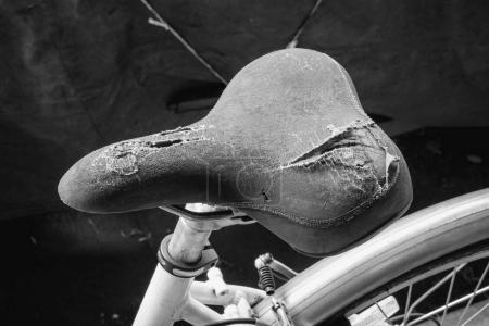 Torn bicycle seat