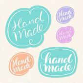Handmade soap labels Hand lettering Vector hand drawn illustration