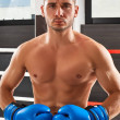 Boxer in blue gloves in the gym. He looks into the...