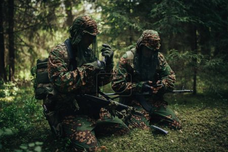 Russian special forces soldiers in the woods.