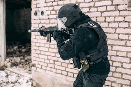 Russian spetsnaz FSB officer in assault gear. Counter-terrorist special forces soldier.