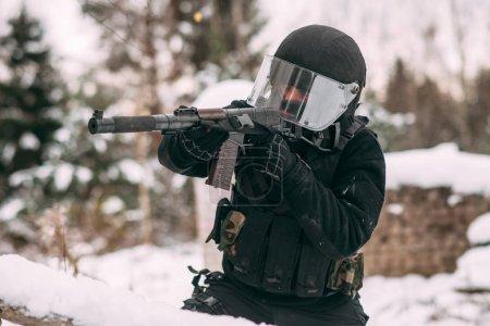 Russian spetsnaz FSB officer. Counter-terrorist Alpha group. Russian soldier.