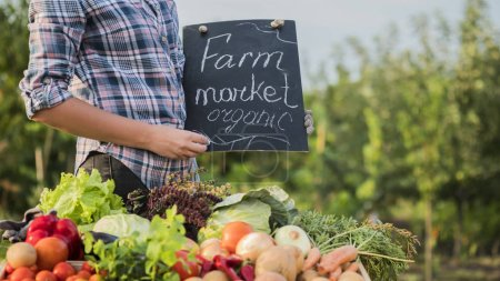 Photo for A farmer near the counter with vegetables holds a tab of the Organic Farmers Market. - Royalty Free Image