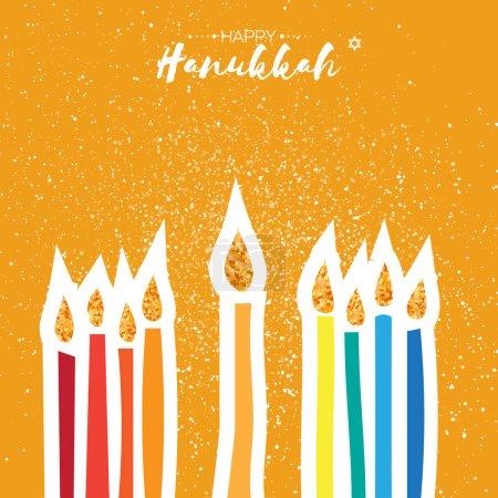 Colorful Happy Hanukkah Greeting card. Jewish holiday with menorah