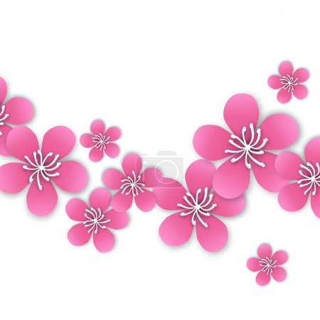 Illustration for Spring Cherry blossom. Pink beautiful sakura with papercraft flowers. Floral modern wallpaper on white background. Vector illustration - Royalty Free Image