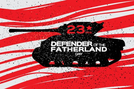 Military Tank. Happy Defender of the Fatherland day. 23 February