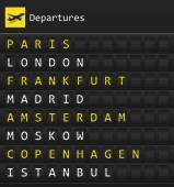 Airplane departures destination table board to major cities in Europe