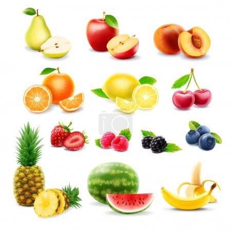 Illustration pour Ensemble d'icônes de fruits colorés, illustration vectorielle - image libre de droit
