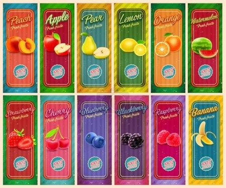 Illustration pour Différentes bannières de jus de fruits, illustration vectorielle - image libre de droit