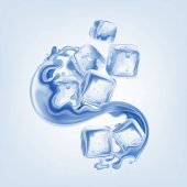 Ice cubes on blue background vector illustration