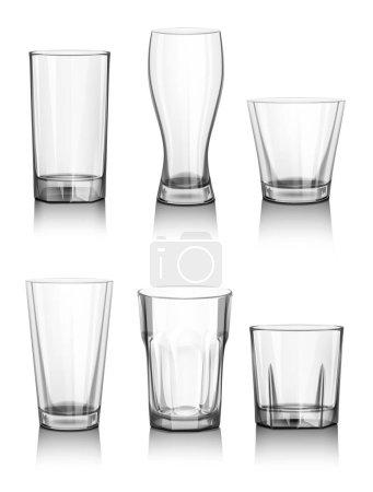 Illustration pour Ensemble de lunettes vides réalistes, illustration vectorielle - image libre de droit