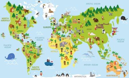 Illustration pour Carte du monde drôle de dessin animé avec des enfants de différentes nationalités, animaux et monuments de tous les continents et océans. Illustration vectorielle pour l'éducation préscolaire et le design des enfants . - image libre de droit