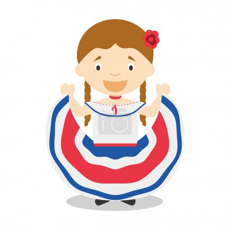 Character from Costa Rica dressed in the traditional way Vector Illustration. Kids of the World Collection.