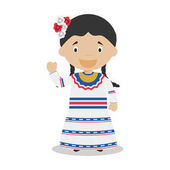 Character from Dominican Republic dressed in the traditional way Vector Illustration Kids of the World Collection